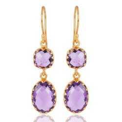 Purple Amethyst Gold Vermeil Sterling Silver Dangle Earrings