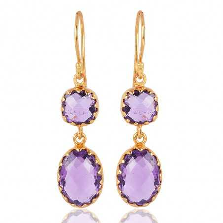 Purple Amethyst Gold Vermeil Sterling Silver Dangle Earrings