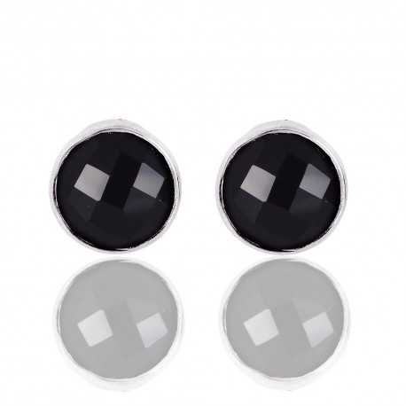 Black Onyx Gemstone Solid Silver Stud Earrings