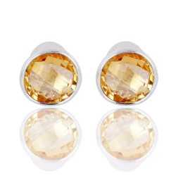 Real Citrine Gemstone Sterling Silver Stud Earring