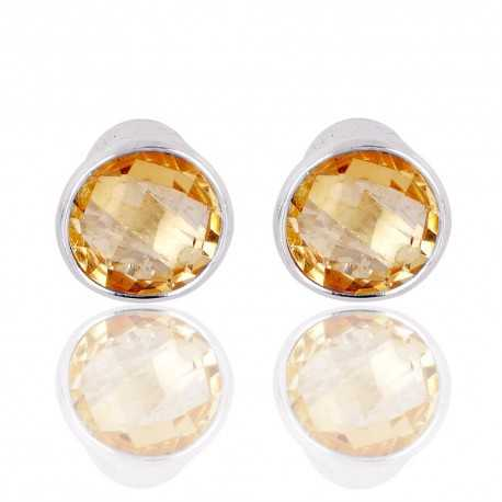 Real Citrine Gemstone Sterling Silver Stud Earring