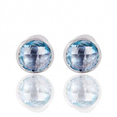 Sparkly Natural Sky Blue Topaz 925 Silver Post Earring
