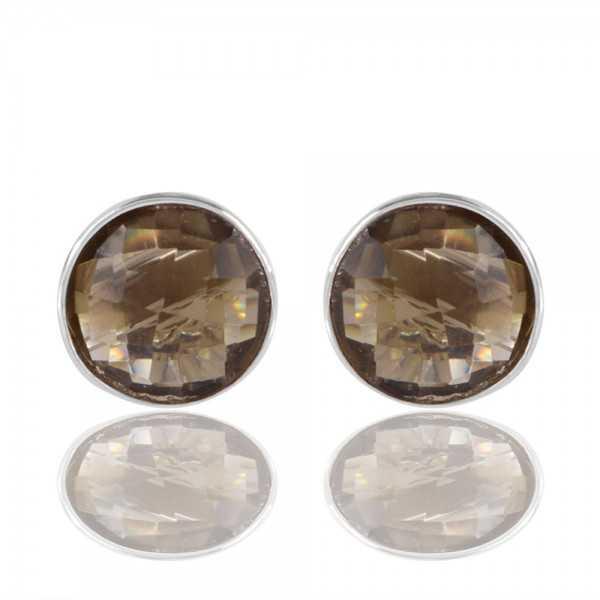 Smoky Quartz Coluor Stone Sterling Silver Stud Earring