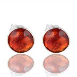 Loving Craft Red Stone 925 Silver Stud Earring