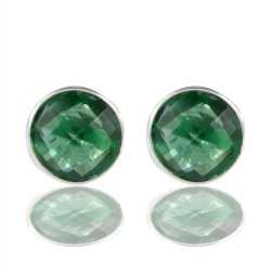 Green Stone 925 Sterling Silver Stud Earring