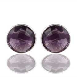 Purple Stone 925 Sterling Silver Stud Earring