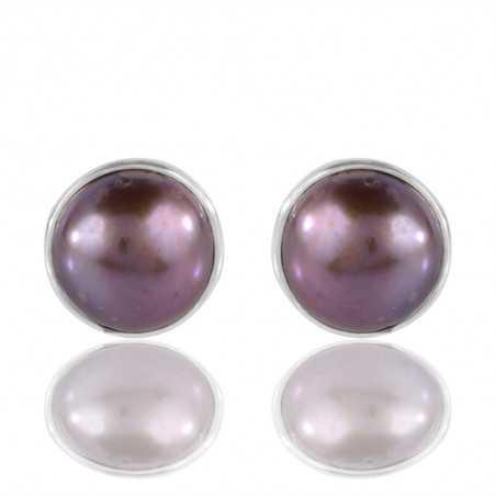Beautiful Colour Pearl Gemstone Sterling Silver Stud Earring