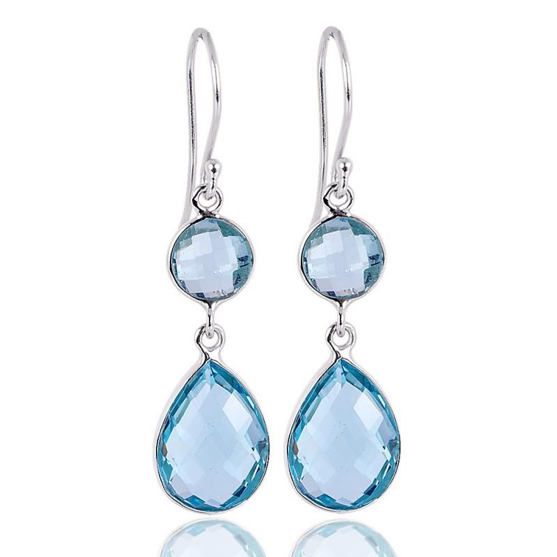 925 Sterling Silver Dark Blue /& Green Round Drop//Dangle Earrings