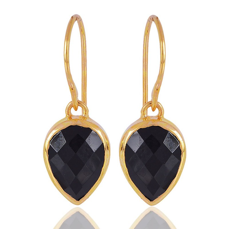 1 Micron Gold Plated 925 Sterling Silver Base Metal And Black Onyx Dangle Earrings Loading Zoom