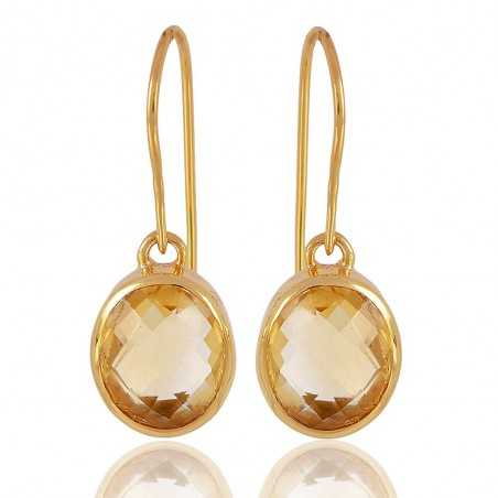 Gold Plated 925 Sterling Silver and Citrine Gemstone Dangle Earring