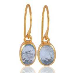 Aquamarine Natural Gemstone 1 microne gold vermiel sold Silver Earrings