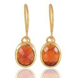 Hessonite Garnet Natural Gemstone 925 Sterling Silver gold vermeil Earringgs