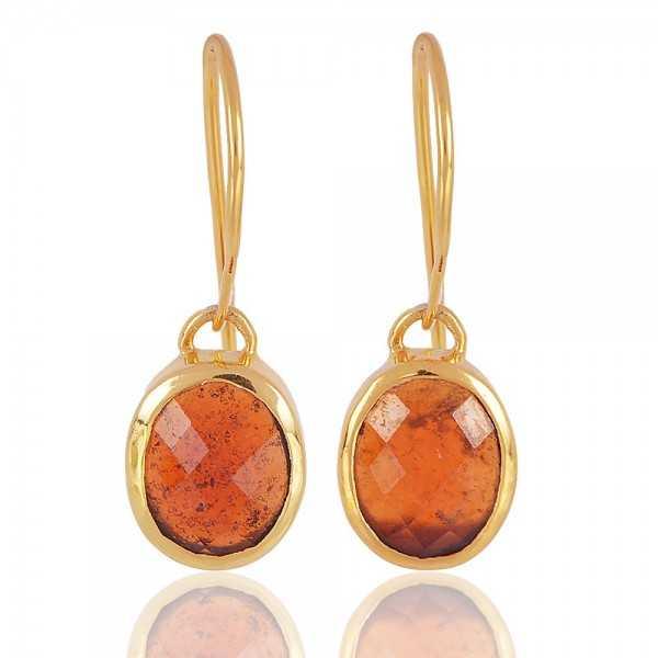 Hessonite Garnet Natural Gemstone 925 Sterling Silver gold vermeil Earringgs