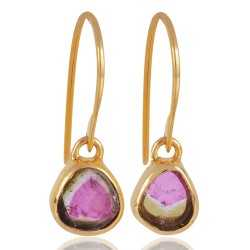Natural Tourmaline Slice Gemstone Gold Vermeil 925 Sterling Silver Earrings