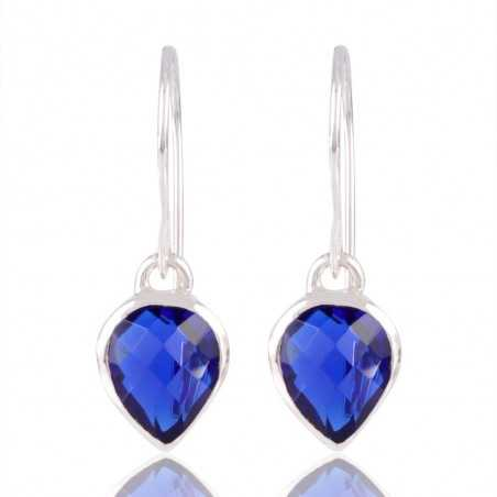 Blue Stone Solid 925 Silver Earring