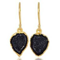 Geode Silce and 925 Sterling Silver Gold Vermeil Dangle Earring