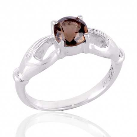 Smokey Quartz 925 Sterling Silver Ring