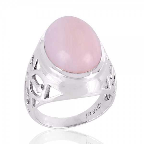 Natural Pink Opal 925 Silver Ring