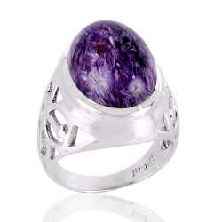 Charoite Gemstone 925 Silver Ring