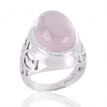 Rose Quartz Natural Gemstone 925 silver Ring