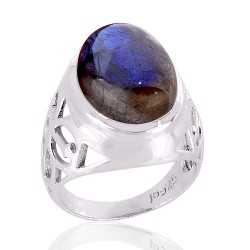 Labradorite blue flash 925 Silver ring