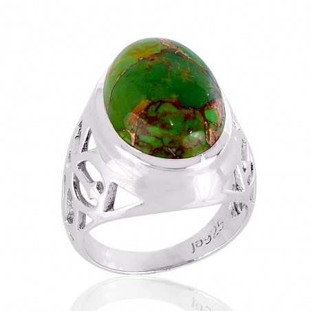 Green Copper tourquoise 925 strling silver ring