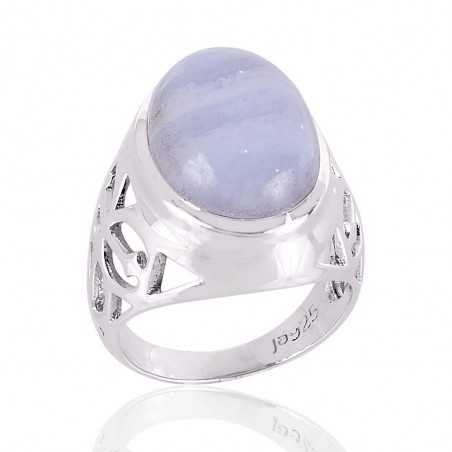 Blue Lace Agate Natural Gemstone sterling silver Ring