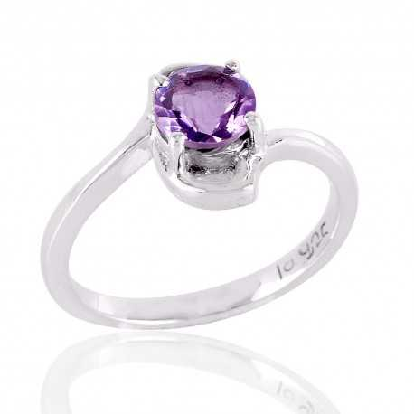 Natural Amethyst and 925 Sterling Silver solitaire Engagement Ring