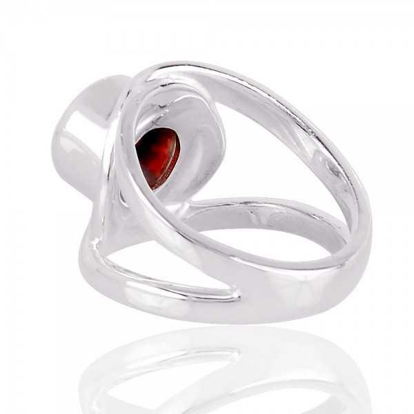 Natural Garnet Gemstone 925 Sterling Silver Ring