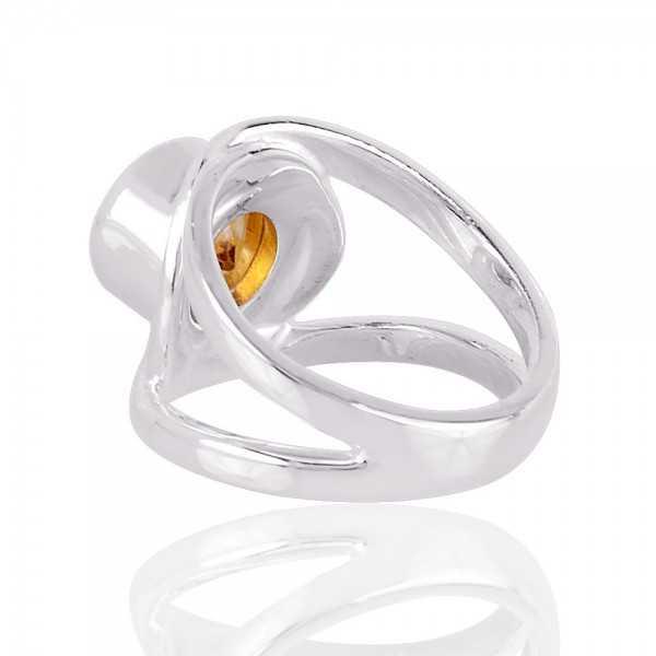 Citrine Gemstone 925 Sterling Silver band Ring