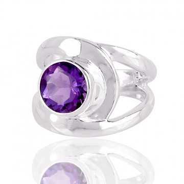 Natural Amethyst Gemstone 925 Sterling Silver Ring