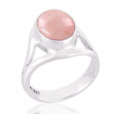Rose Quartz Natural Gemstone 925 Sterling Silver Ring