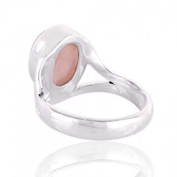 Rose Quartz Natural Gemstone 925 Sterling Silver Ring
