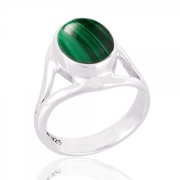 Green Malachite Natural Gemstone 925 Sterling Silver Ring