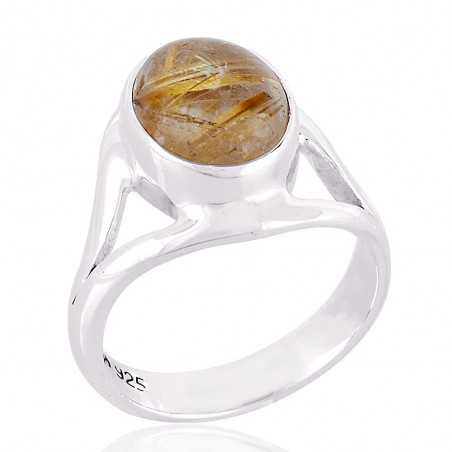Natural Rutilated Quartz Sterling Silver Ring