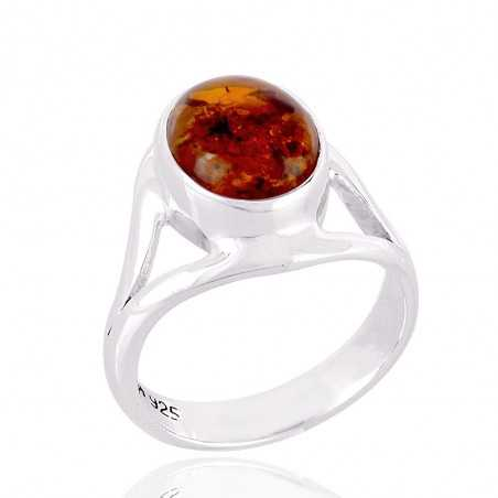 925 Sterling Silver and Amber Gemstone Ring
