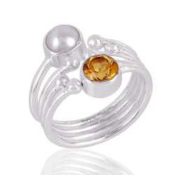 Citrine and Pearl Gemstone 925 solid Silver Ring