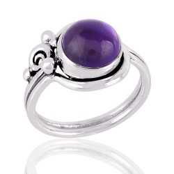 Cabochon Amethyst Gemstone 925 Silver Ring