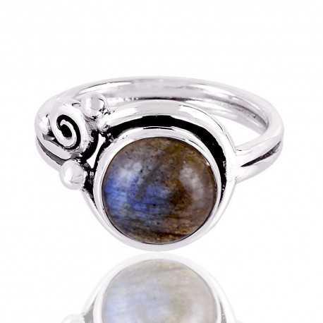 Natural Labradorite Gemstone Sterling Silver Ring