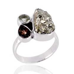 Persiolite Pyarite and Smokey three Stone Solid Silver Ring
