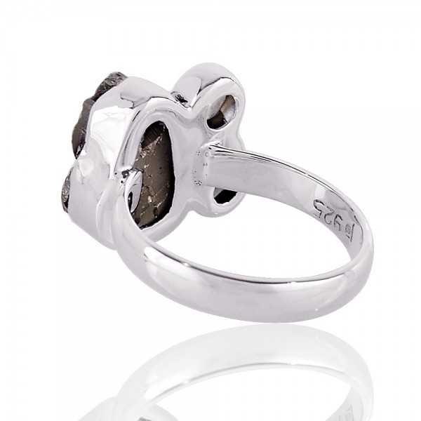 Persiolite Pyarite and Smokey three Stone Solid Silver Ring