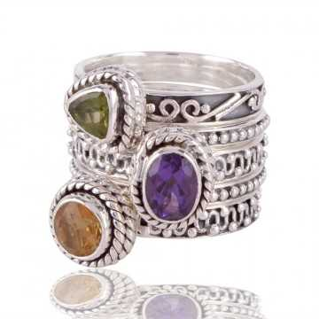 Natural Gemstone Citrine, Peridot, and Amethyst set of five 925 Sterling Silver Stackable Ring