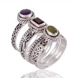 Amethyst Garnet Peridot Stackable Sterling Silver Ring