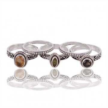 Citrine Peridot and Smokey Quartz Stakcable 925 Sterling Silver Ring
