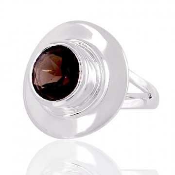 Natural Smokey Quartz 925 Silver Ring