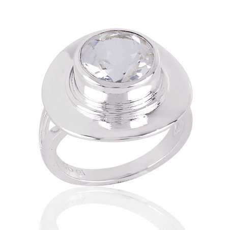 Crystal Natural Gemstone Solid Silver Ring
