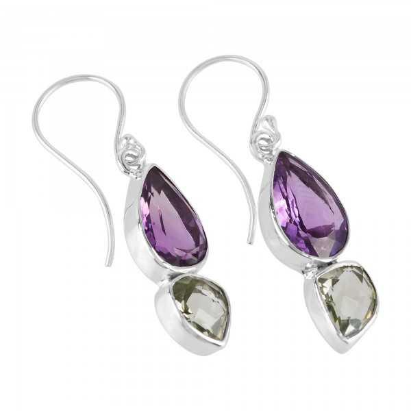 Amethyst and Green Amethyst AKA Prasiolite Silver Gemstone Earrings
