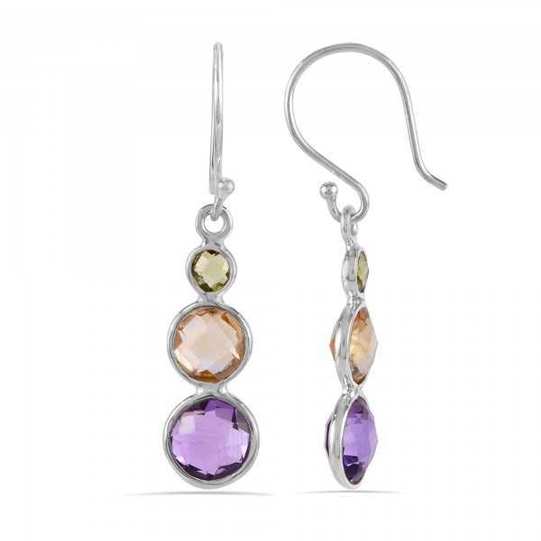 Peridot Citrine and Amethyst Multi Gemstone 925 Silver Earring