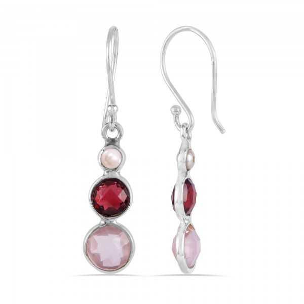 Rose Quartz Garnet and Pearl Gemstone Solid Silver Earrings
