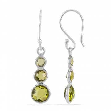 Natural Peridot Gemstone three Stone Sterling Silver Earring